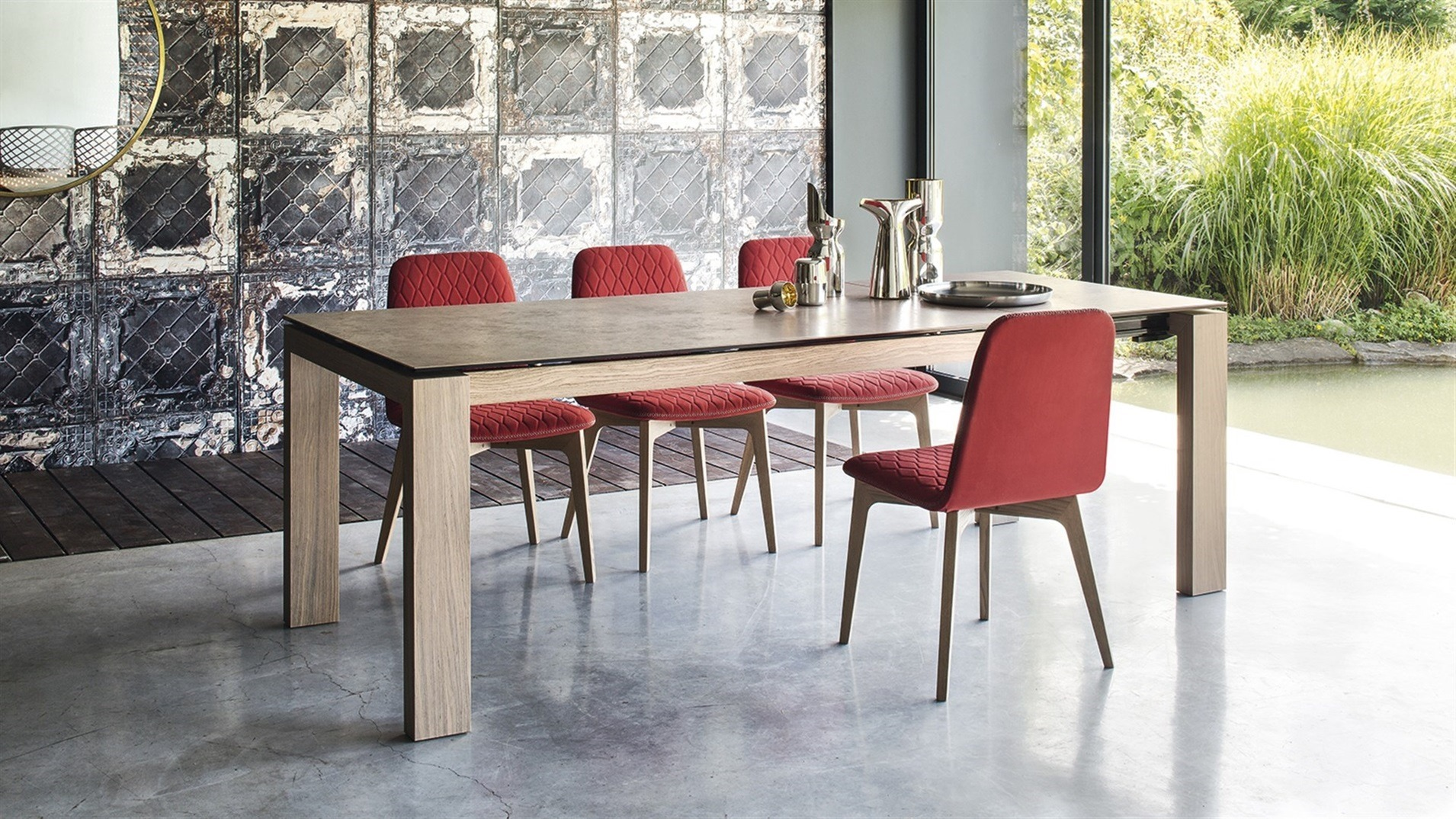 Sigma wood table hip furniture for Calligaris sedie